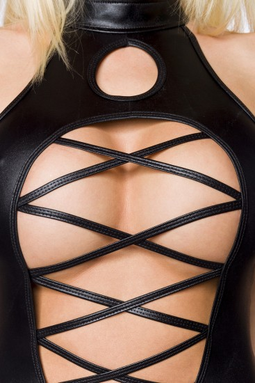 Wetlook-Set Body mit lange Chiffonrock in schwarz