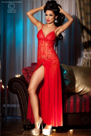 Langes Babydoll rot mit Spitze