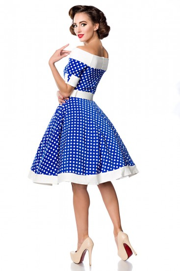 Retro-Kleid mit Tellerrock Schulterfrei kurze Ärmel