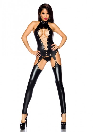 Sexy Wetlook-Overall, Straps-Set schwarz