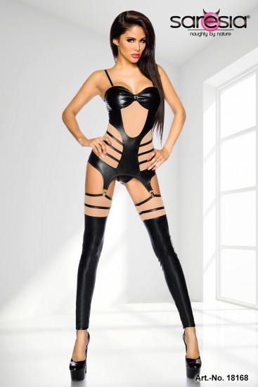 Wetlook-Straps-Set Schwarz mit Cutouts