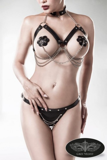 Gray Velvet Erotik Set Harness Bra in schwarz