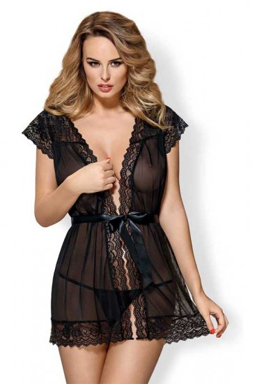 Transparente Mesh Peignoir in schwarz