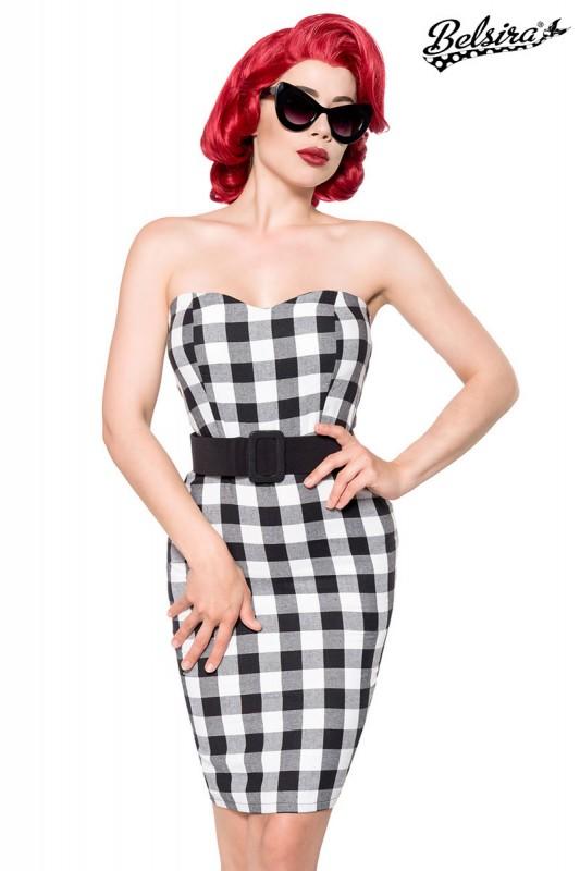 fe8e850bd683e7 Bandeau Karo Retro Kleid schwarz mit Bleistiftrock