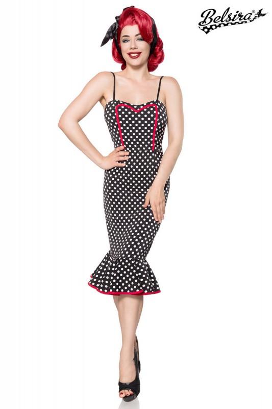 4c09670058b47a Vintage Retro Damen Kleid mit Volant, Spaghettiträgern