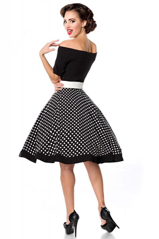 Elegante Retro-Kleid und schulterfrei mit Tellerrock