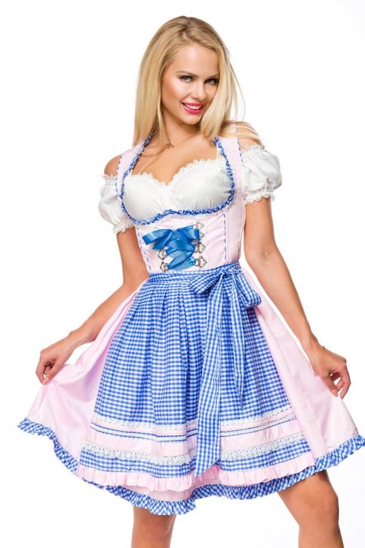 Romantisches Unterbrustdirndl in Rosa, Blau - Kleidung ...
