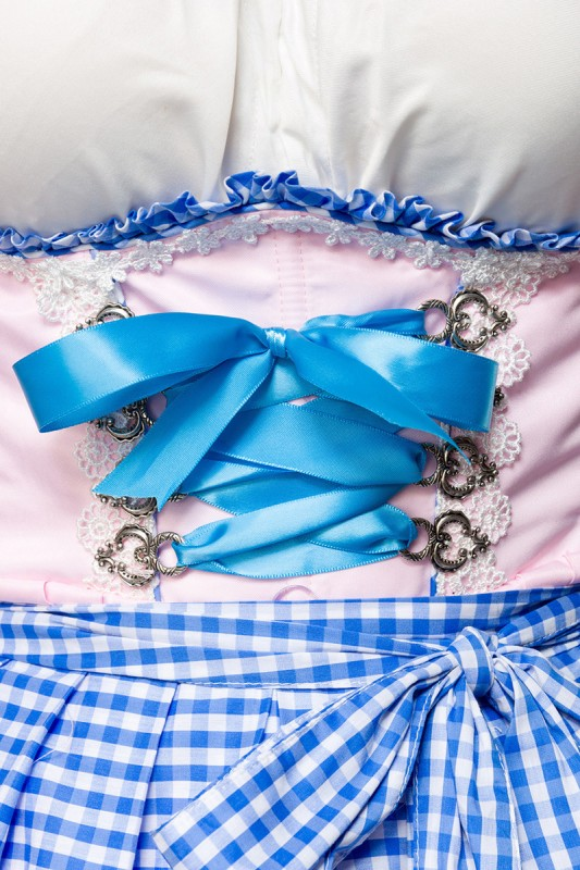 Romantisches Unterbrustdirndl in Rosa, Blau - Kleidung Onlineshop