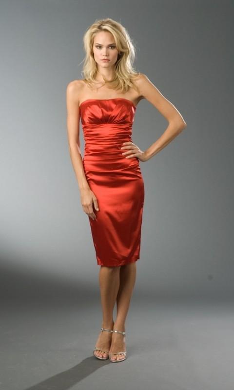 Satin Cocktailkleid rot-W9121 - Kleidung Onlineshop