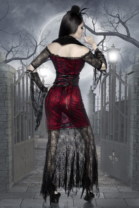 Damen Spinnennetz Hexen-Kostüm in schwarz und rot