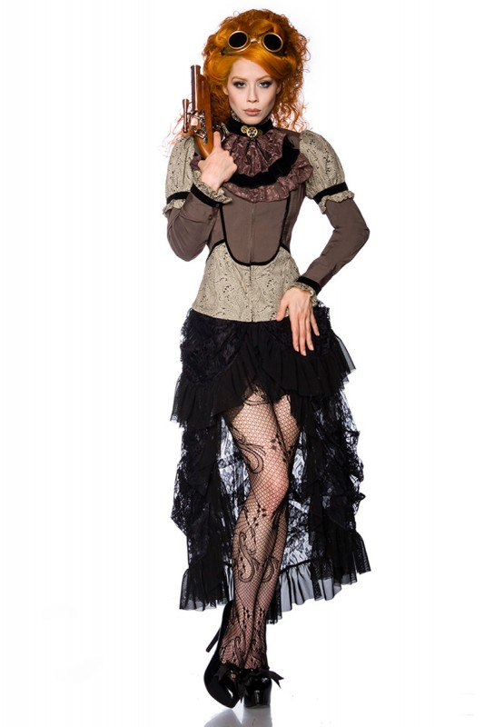 steampunk bluse mit jabot kleidung onlineshop. Black Bedroom Furniture Sets. Home Design Ideas