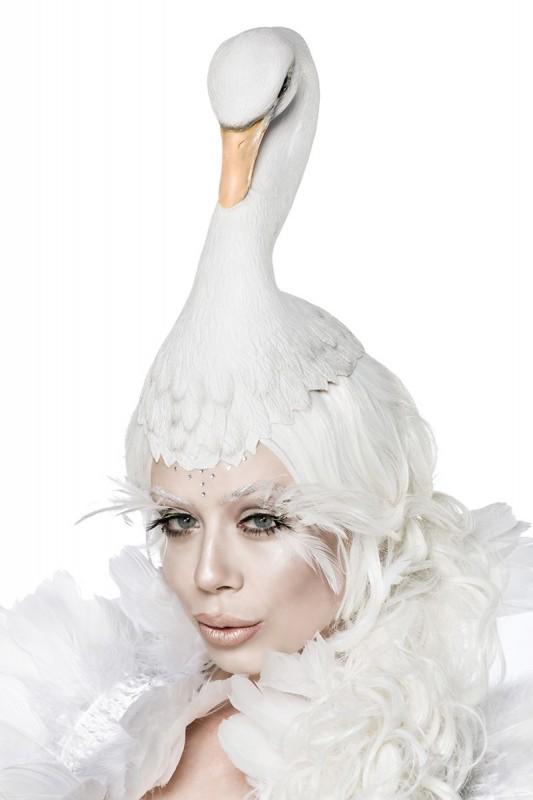 Weißes Swan Kostüm-Set mit trägerloses Kleid - Kleidung Onlineshop