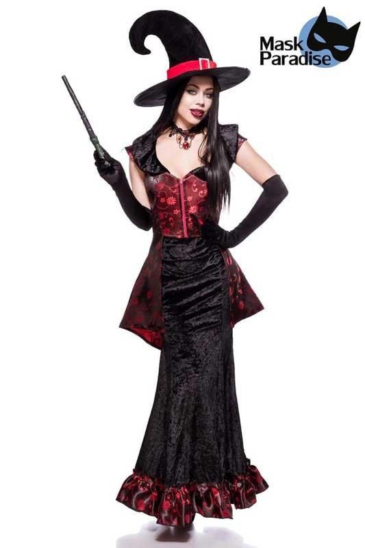 0813971aee Hexen Kostüm mit Oberteil schwarz, Samtrock, Hexenhut