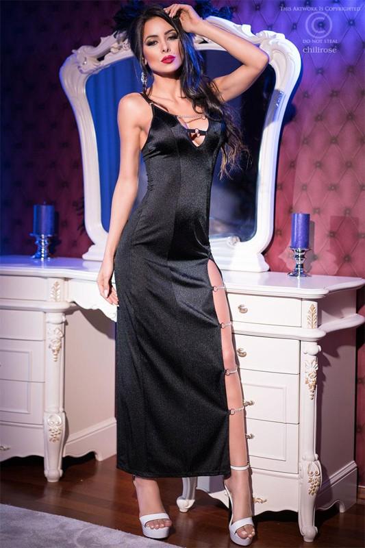 Langes Satin Kleid mit langen Seitenschlitz in schwarz