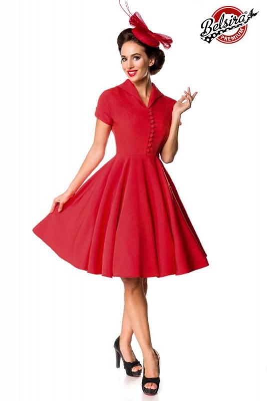 premium retrokleid swing kleid rot mit kurze rmel. Black Bedroom Furniture Sets. Home Design Ideas