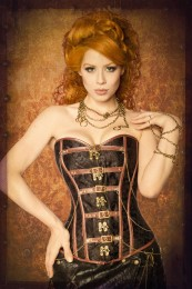 Steampunk-Corsage in Brokat-Optik